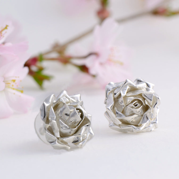 large rose stud earrings