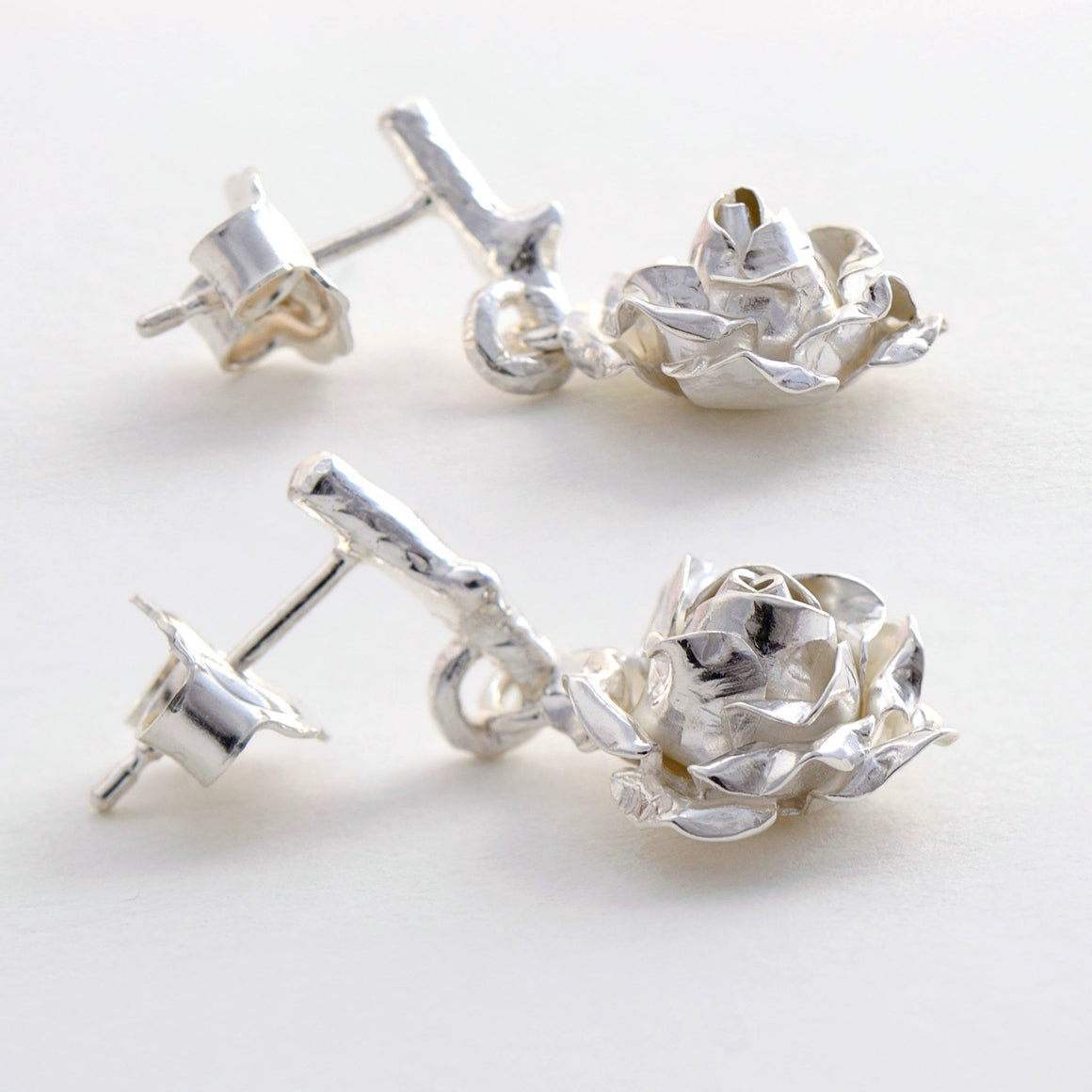 Silver medium rose earrings- dangling rose earrings