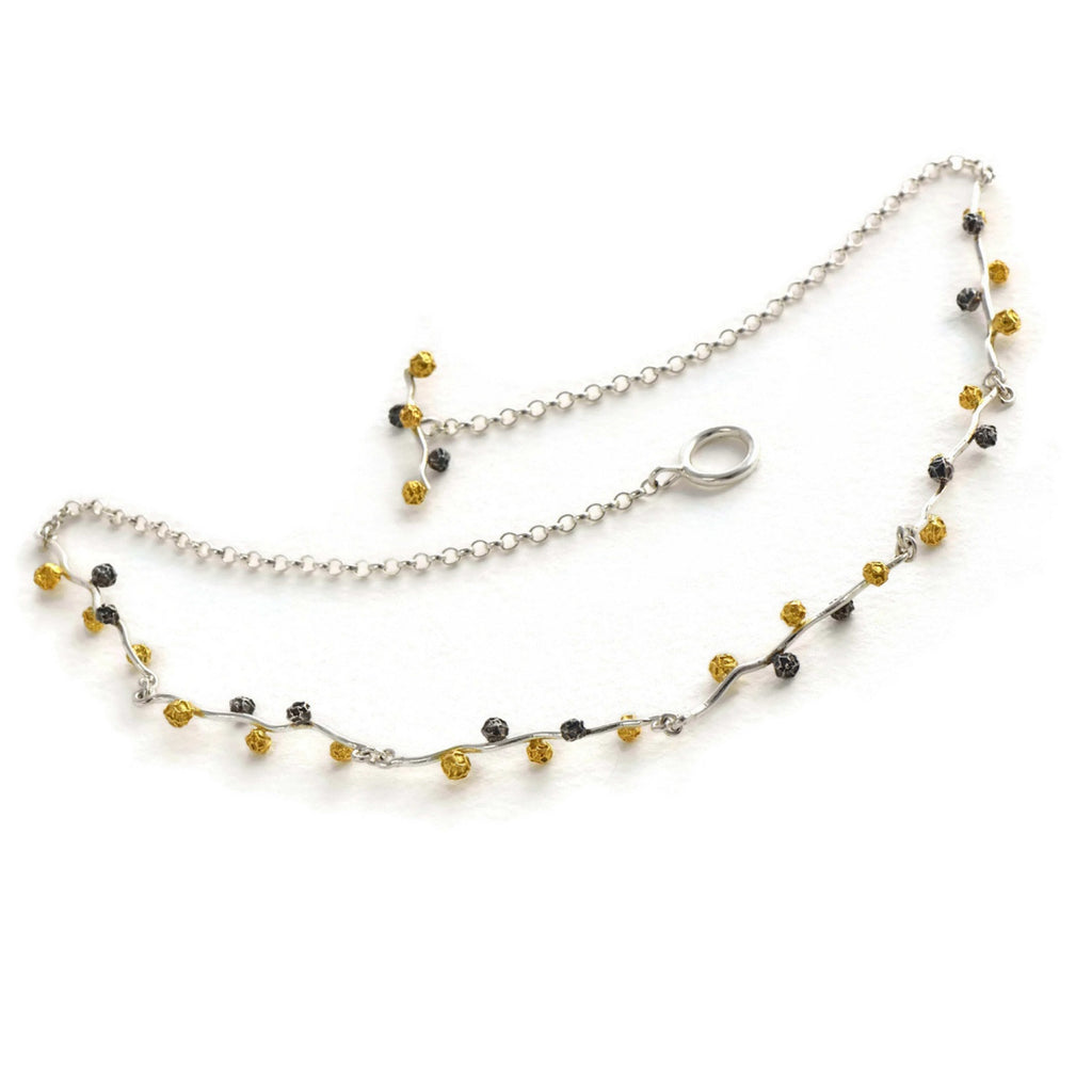 silver peppercorn necklace in three colours of peppercorns