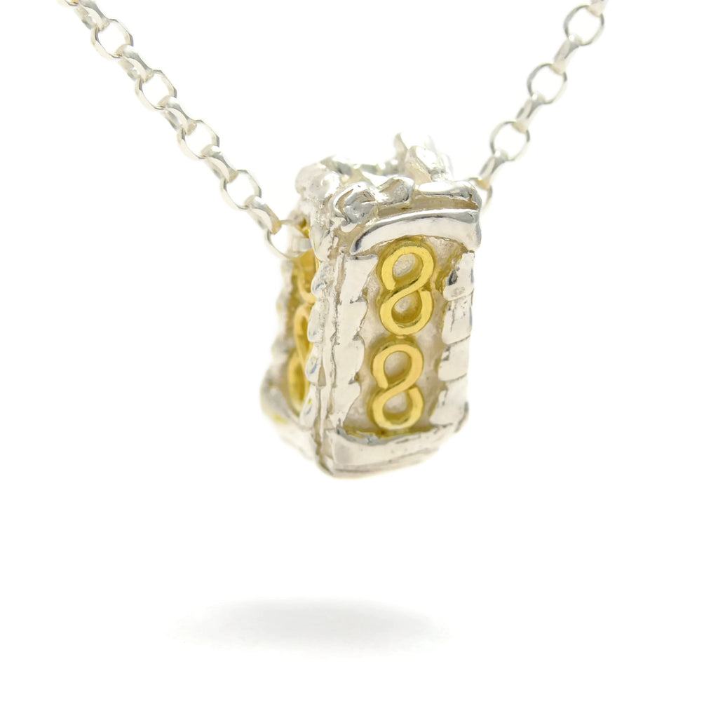 18ct gold and silver pettite patterned 3D rectangle pendant, geometrical designs