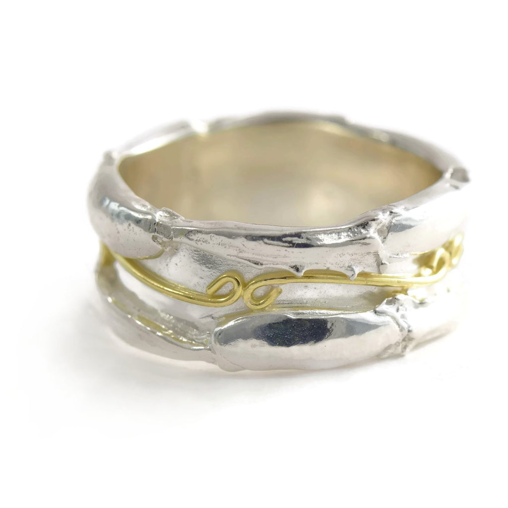 18ct gold and silver  textured, robust ring band, ornamented with infinity symbols, 10 mm wide, unisex ring