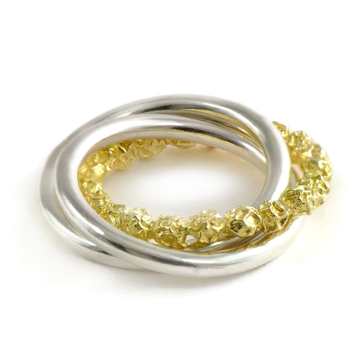 18ct yellow gold and silver Russian Wedding Ring Design, 18ct yellow eco-gold peppercorns design
