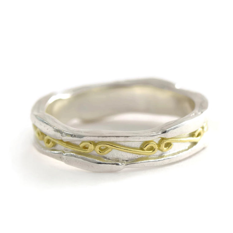 18ct gold and silver unique textured ring band ornamented with infinity symbols, 5 mm wide, unisex