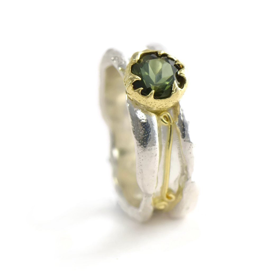 green tourmaline ring, 18ct gold  and silver
