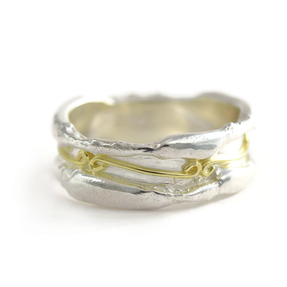 18ct gold and silver patterned robust ring band, decorated with infinity symbols 7 mm wide, unisex ring