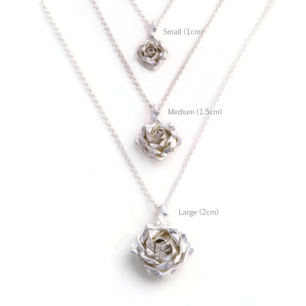 Large rose pendant in solid sterling silver