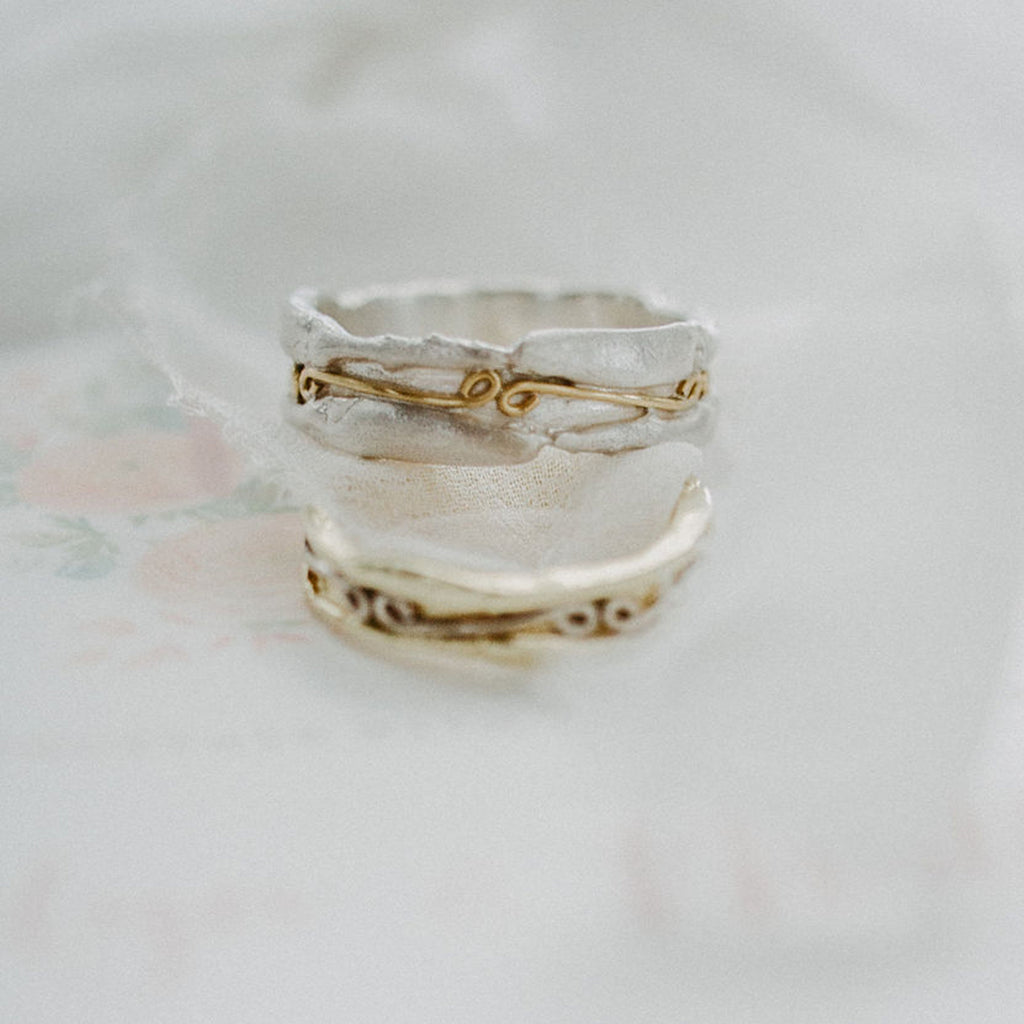 Raw textured 18ct gold and silver patterned ring band decorated with infinity symbols- unisex rings
