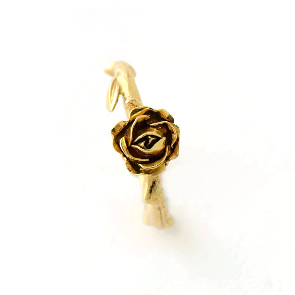rose and leaf ring