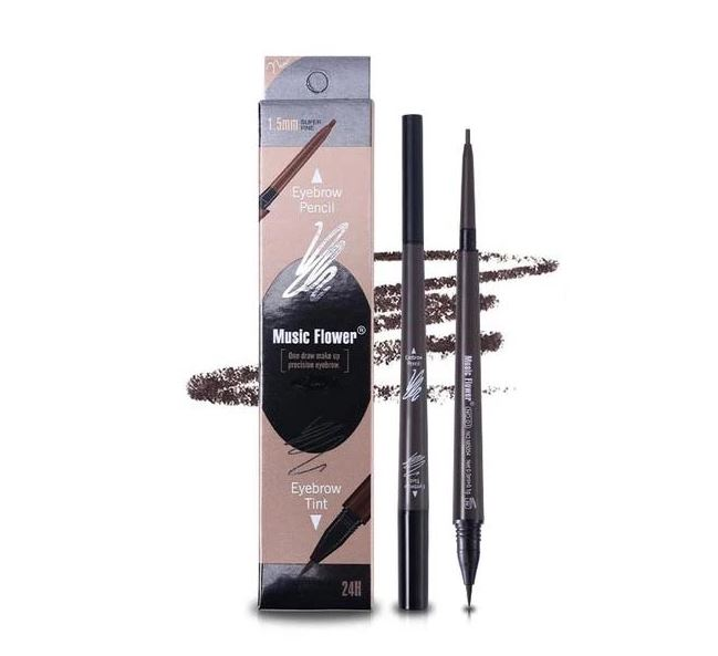 Music Flower - Two-Way Eyebrow Pen (1 Day Tattoo) #3 Grayish Brown