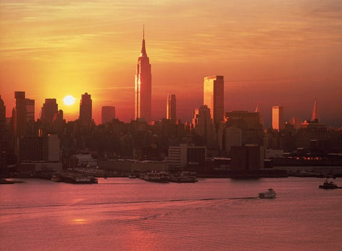 new york, sunset, nyc, skyline, view