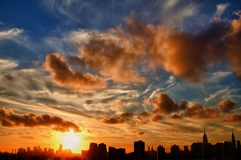 Manhattanhenge, sunset, manhattan, nyc, new york, clouds
