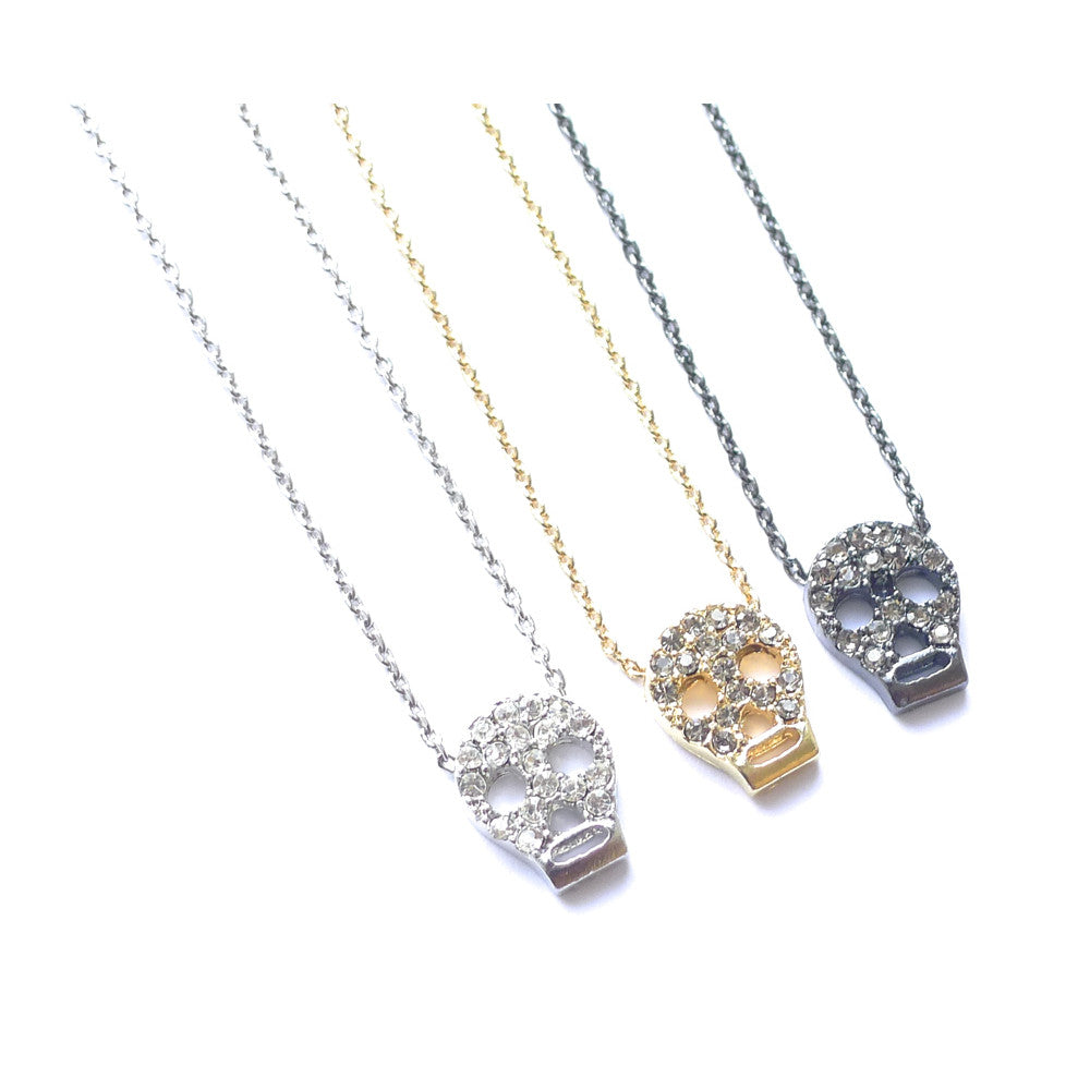 PAVE SKULL DELICATE PENDANT NECKLACES