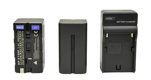 2 x NP-F750 (4600mAh L-Series) Batteries W/ Charger Kit