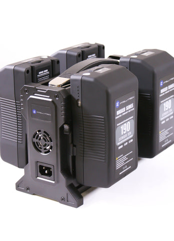 Rugged Series Kit - 4 x 190Wh Series Battery + Quad Charger. Anton Bauer Gold Mount / V-Mount