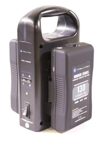 Rugged Series Kit - 2 x 130Wh Series Battery + Dual Charger. Gold Mount / V-Mount