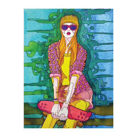 Illustration of a girl wearing sunglasses holding a skateboard