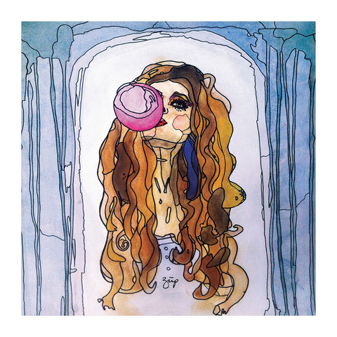 Illustration of a girl with a bubblegum