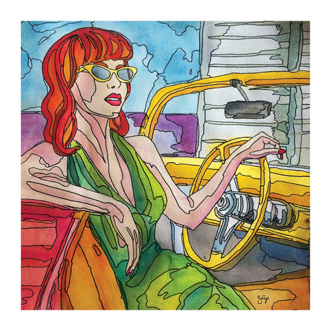 Illustration of a redhead woman in a convertible