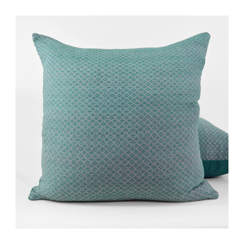 Handwoven blue throw pillow