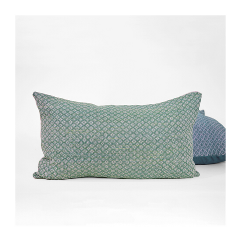 Handwoven green lumbar pillow
