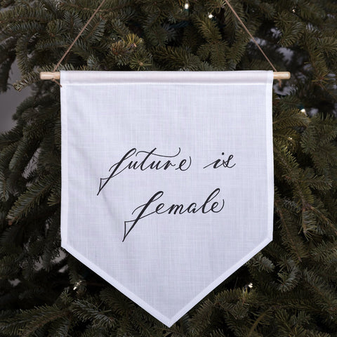 'Future is female' Hand-Calligraphed Linen Banner