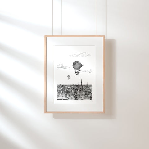 Balloon Fish over Copenhagen Fine Art Print