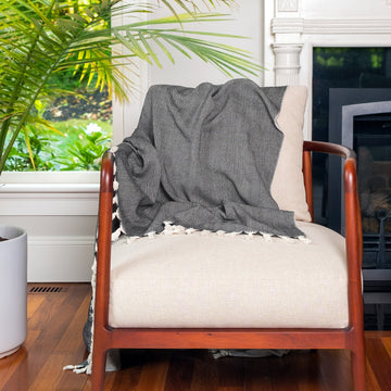 Black Tweed Heavy Cotton Throw - Darling Spring