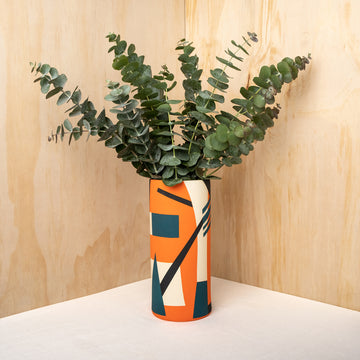 Bauhaus Orange Ceramic Vase - Darling Spring