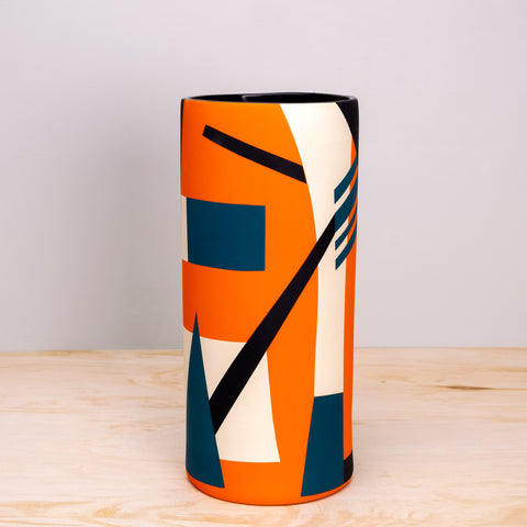 Bauhaus Orange Ceramic Vase