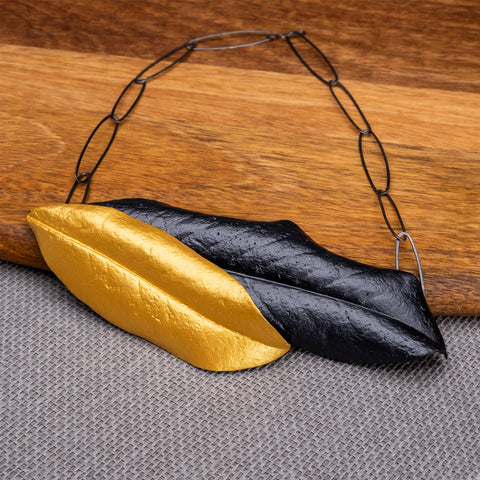 Magnolias of Istanbul Golden and Graphite Necklace