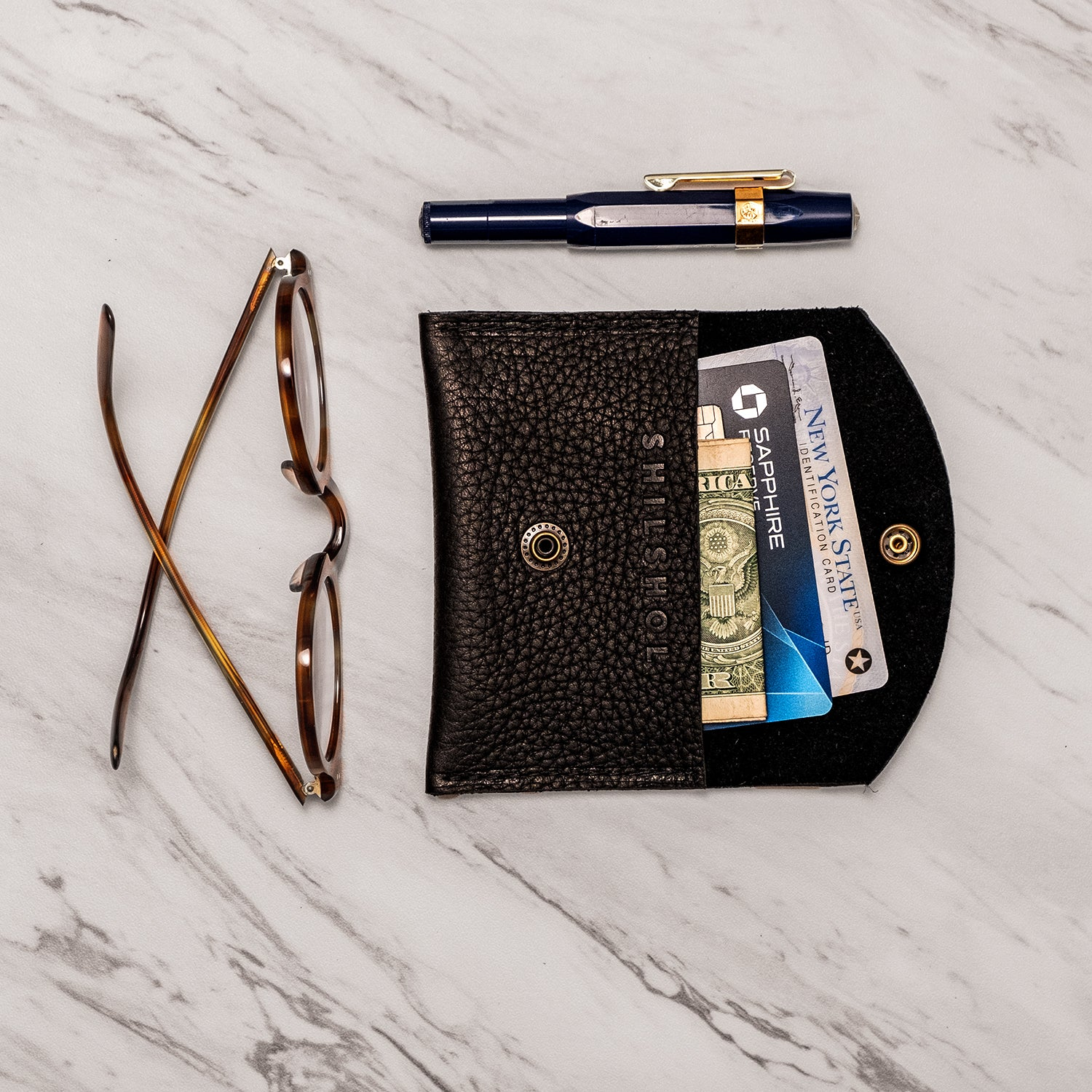 Mini Pebbled Leather Wallet