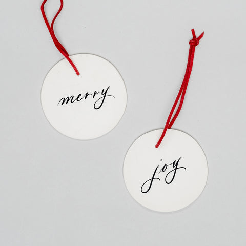 Merry & Joy Ornament Set of Two