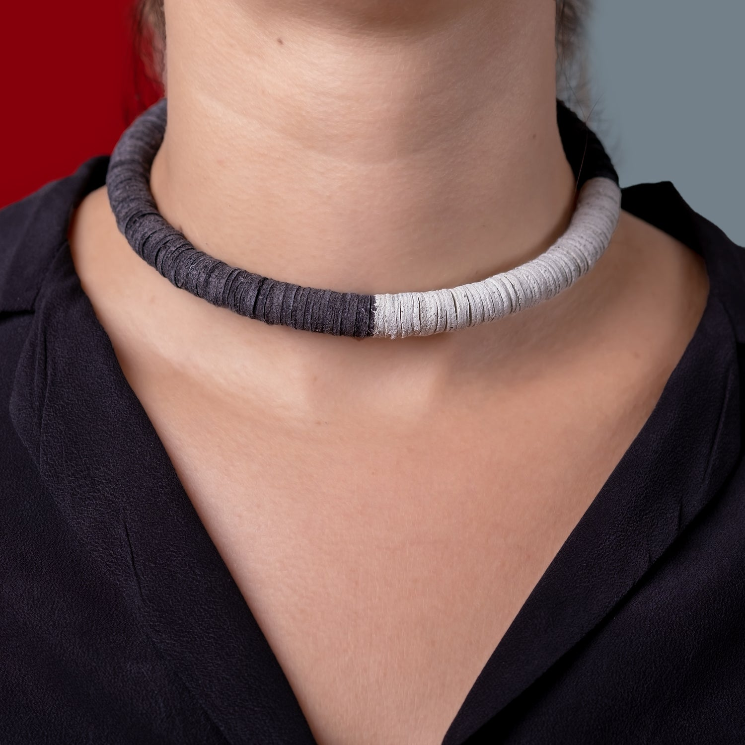 Tricolor Leather Choker
