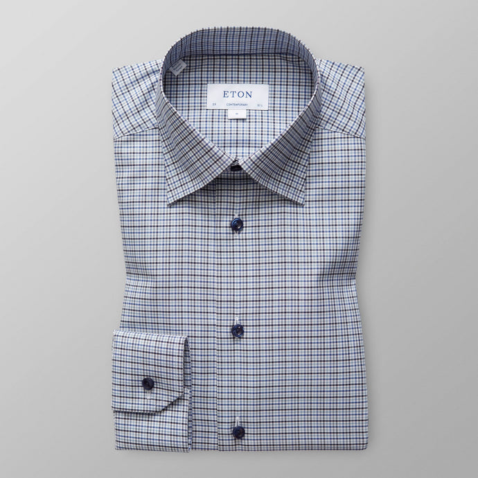 10000029525 Eton Blue Mens Check Shirt for suit for sale online ireland