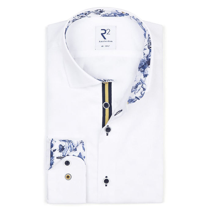 White Shirt With Contrast Floral Trim