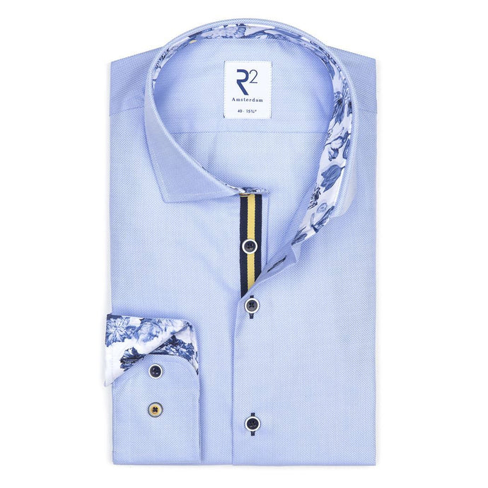 Light Blue Shirt With Floral Trim