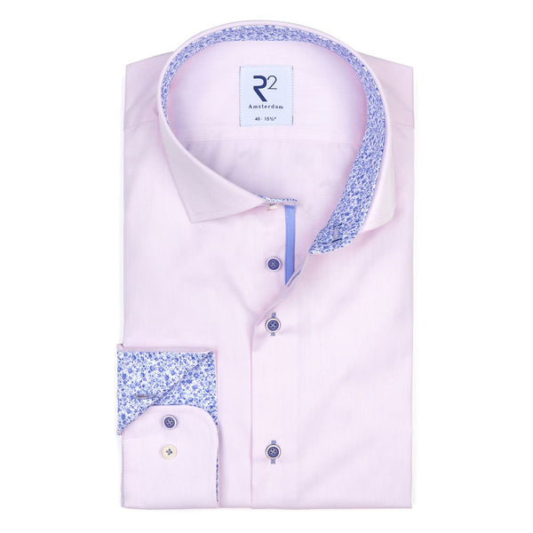R2 Pale Pink Shirt With Blue Trim