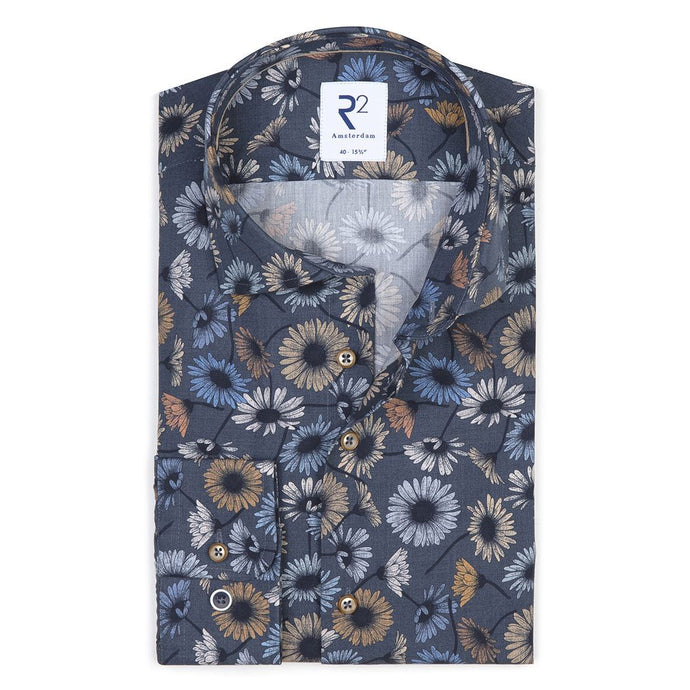 Dark Blue Flower Print