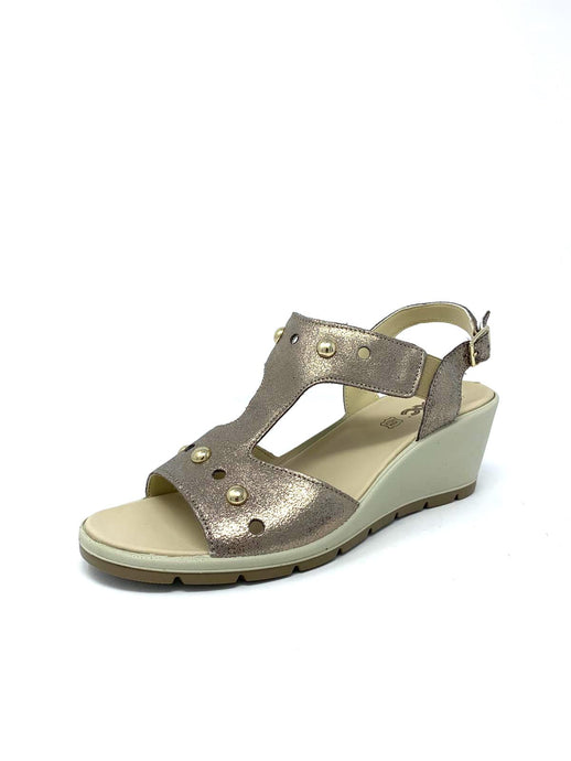 508150 Mac Ladies Wedge Gold Sandals Open toe for sale online Ireland
