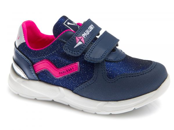 Blue Kids Trainers with Pink/Glitter Contrast