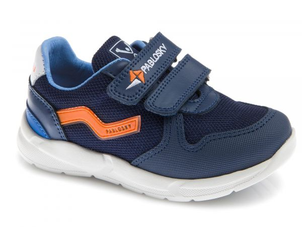 Blue Kids Trainer with Orange&Mesh Contrast