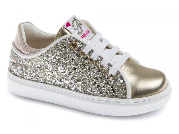 Gold Kids Shoes with Zipper and Glitter Design