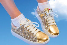 Load image into Gallery viewer, Gold Kids Shoes with Zipper and Glitter Design