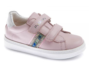 Pink Girls Shoe with Contrast Stripe Design