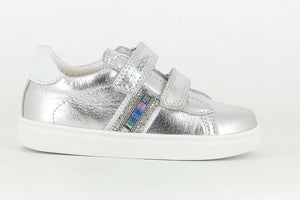 Silver Girls Shoes with Colourful Stripe