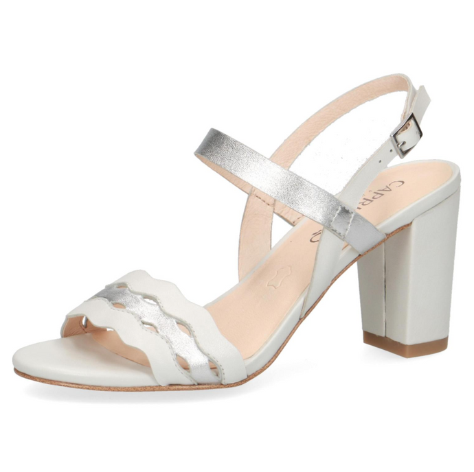 28313-24 191 Caprice White & Silver Block Heel Sandals for weddings for sale online ireland