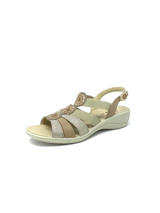 508830 Mac Beige Ladies Wedge Sandals with Elasticated Strap for sale online ireland