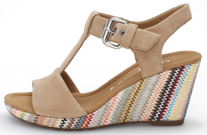 42.824.35 Gabor Ladies Wedge Sandals Beige with Colourful Wedge for sale online ireland