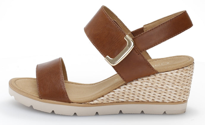 45.751.24 Gabor Ladies Wedge Velcro Sandals with Jute Platform peanut tan for sale online ireland