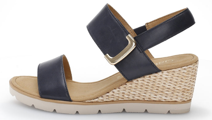 45.751.26 Gabor Ladies Wedge Velcro Sandals with Jute Platform midnight blue for sale online ireland
